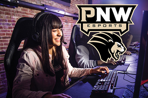 Students play games on computers next to a logo saying PNW Esports.