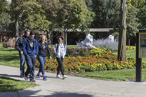 Students walk across PNW's Hammond campus.