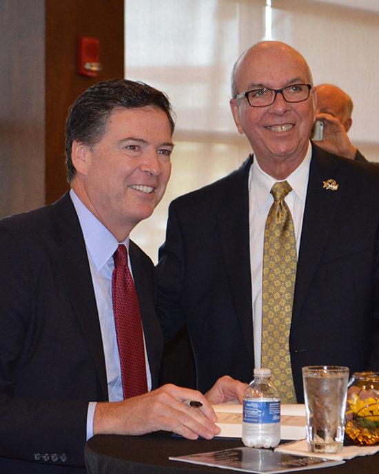 James Comey and Chancellor Thomas Keon at Sinai Forum