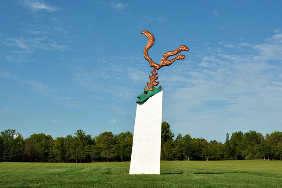 Sculpture: The Underwater Guy – Matthew Berg Painted steel, aluminum and copper. An homage to the immense power of weather systems and climate change.