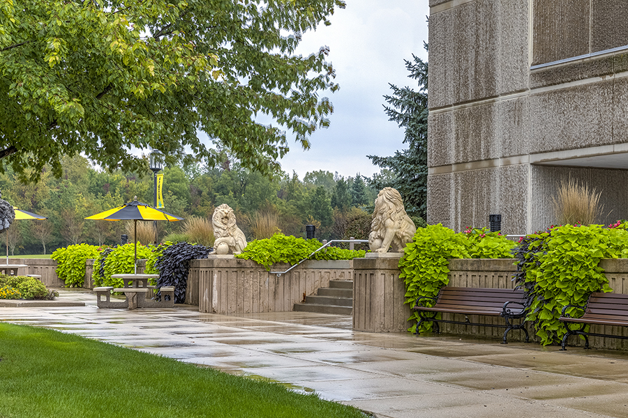 The entrance to PNW Westville is pictured and provides student and career resources for veterans.