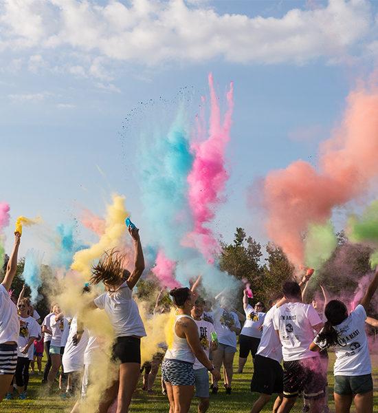 Students celebrating Pride Stride at PNW.