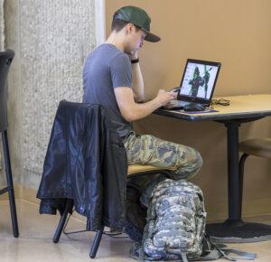 Image of student exploring veteran career servi