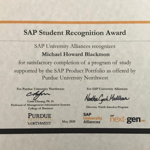 SAP Student Recognition Award