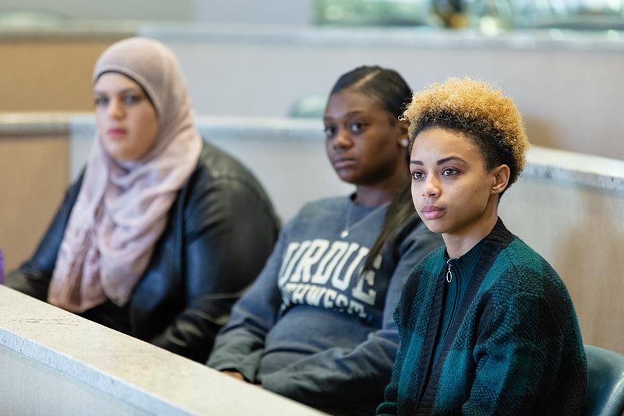 Three women in the classroom