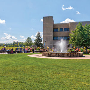 An exterior view of a fountain on PNW's Westville campus