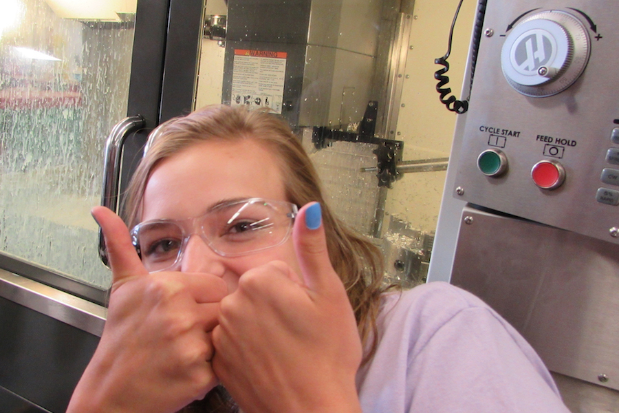 Advanced manufacturing student is pictured.