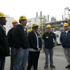 Students in the Environmental Health and Safety concentration of Purdue Northwest's Organizational Leadership and Supervision major at a field experience.