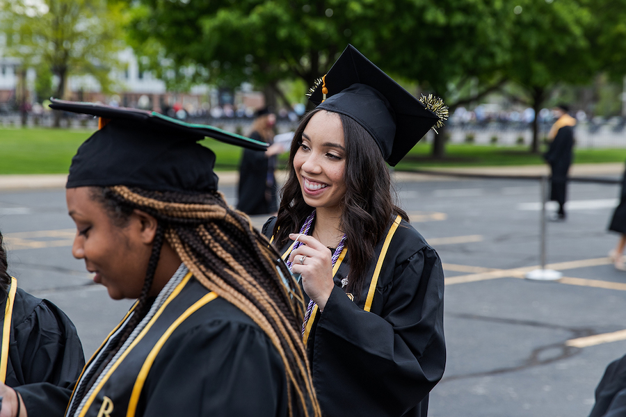 Students at 2021 commencement ceremony.