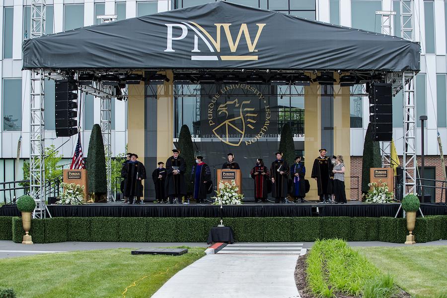 PNW outdoor commencement ceremonies.