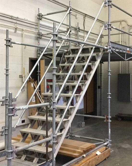 Steel construction steps and platform