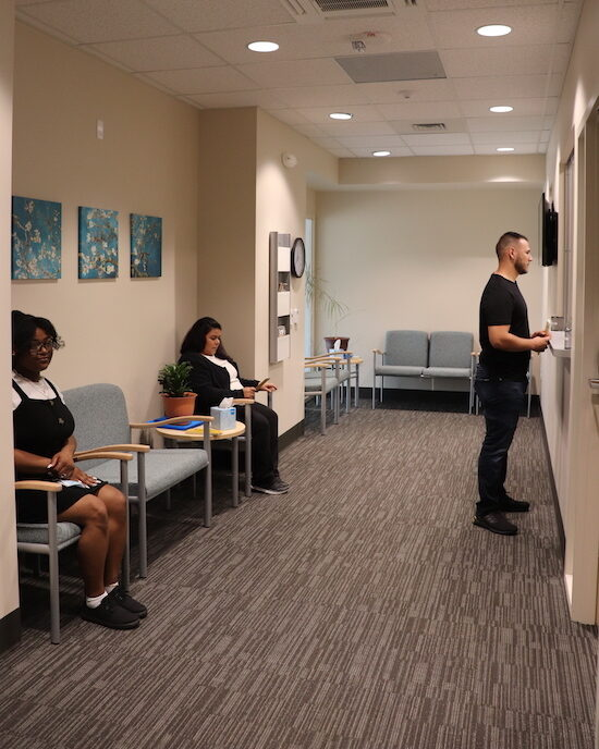 Students check in at the counseling center.