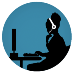 Telemental Health Icon - Woman sitting in front of a computer with headphones on