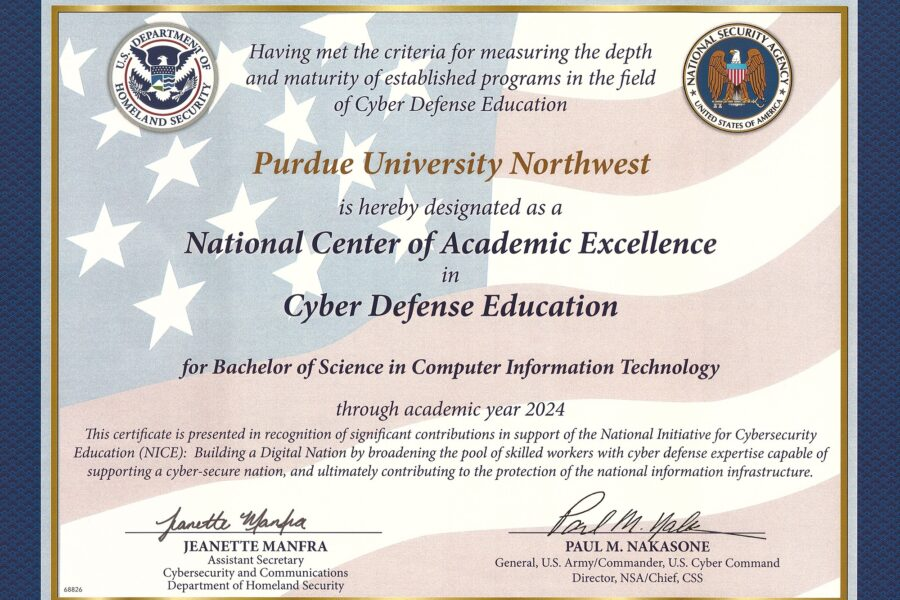 Designated National CAE in Cyber Defense Education Certificate