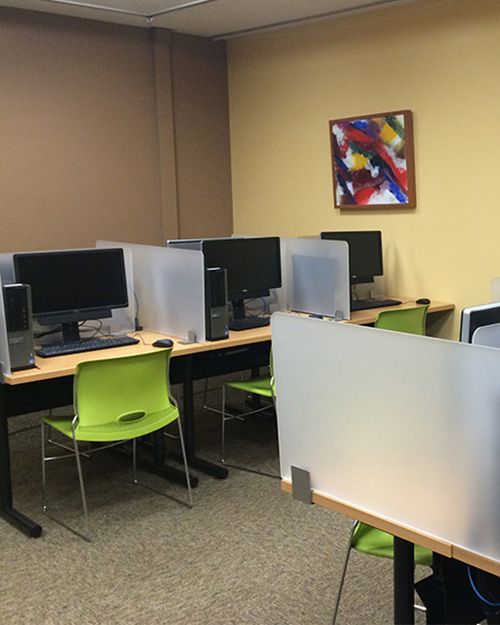 Picture of the desks in the testing center