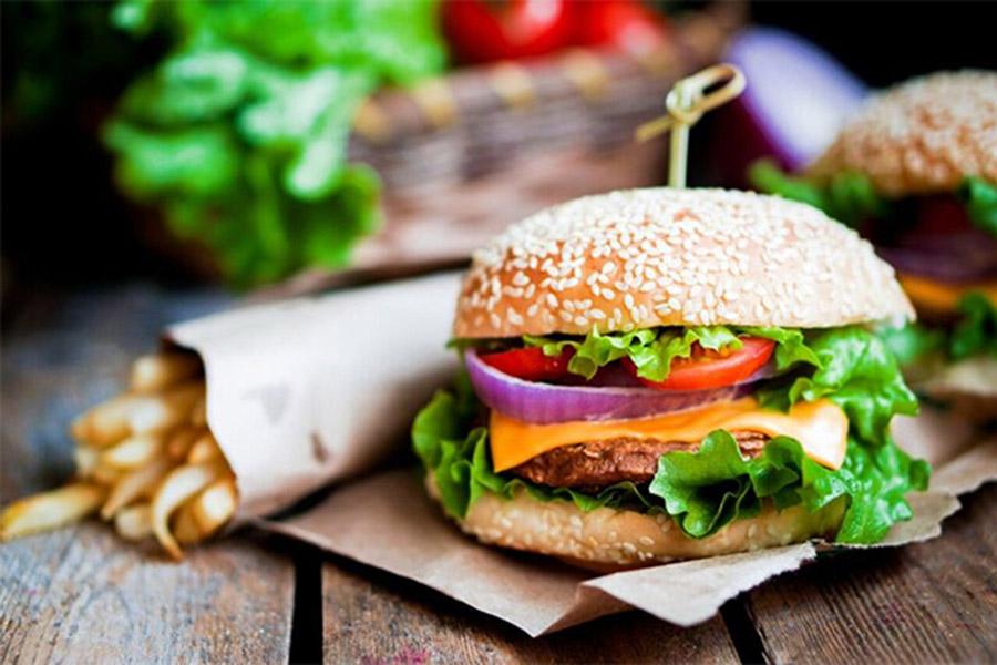 A cheeseburger and fries