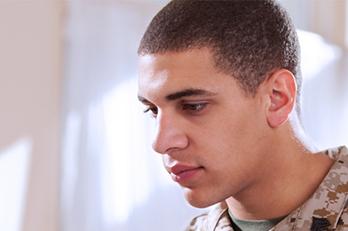 A veteran in fatigues
