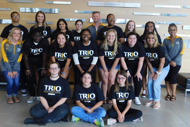 Students in matching TRIO shirts in the Dworkin Student Activities Center