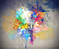 light bulb bursting with color