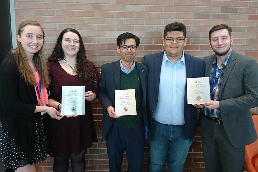 2019 pnw steel bridge team with awards
