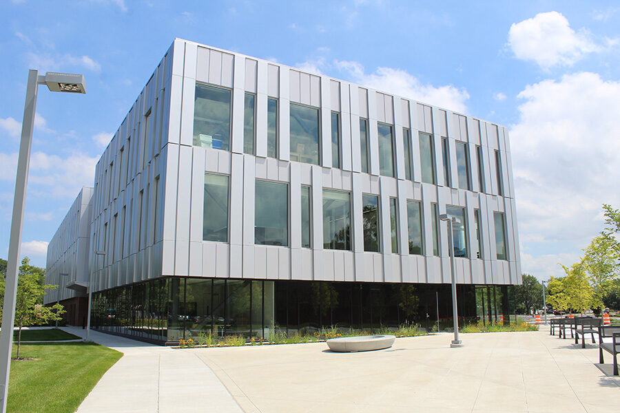 A side view of PNW's Nils K Nelson Bioscience Innovation Building