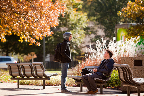 Students relax on campus.