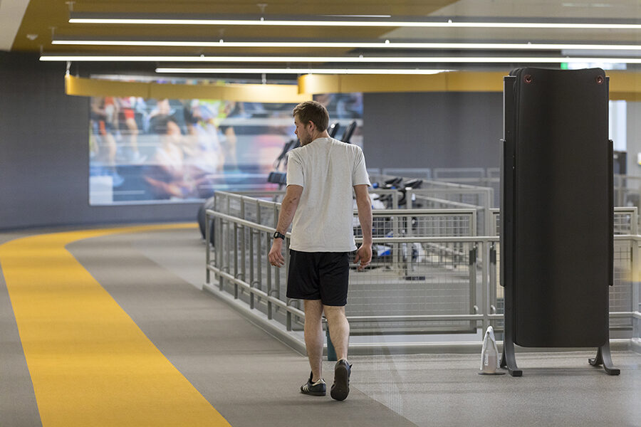 A runner on the track at PNW's Dworkin Student Services and Activities Complex