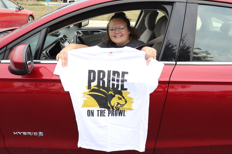 Image of student in car at Pride Stride.
