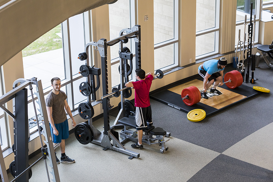 Students lift weights in PNW's Dworkin Student Services and Activities Complex.