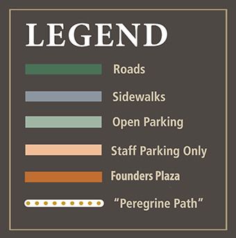 Legend (Roads, Sidewalks, Open Parking, Staff Parking Only, Founders Plaza, Peregrine Path