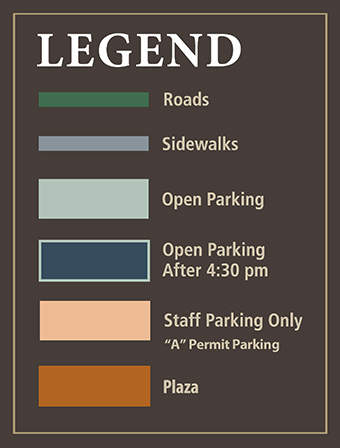 "Legend (Roads, Sidewalks, Open Parking, Open Parking after 4:30 pm, Staff Parking Only - ""A"" Permit Parking, Plaza)"
