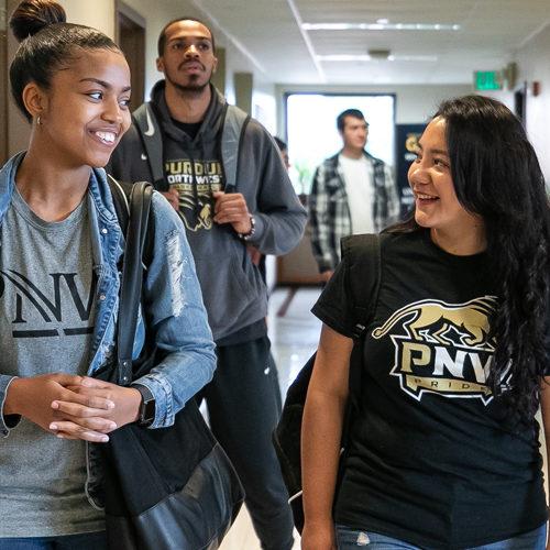 PNW Students walk between classes