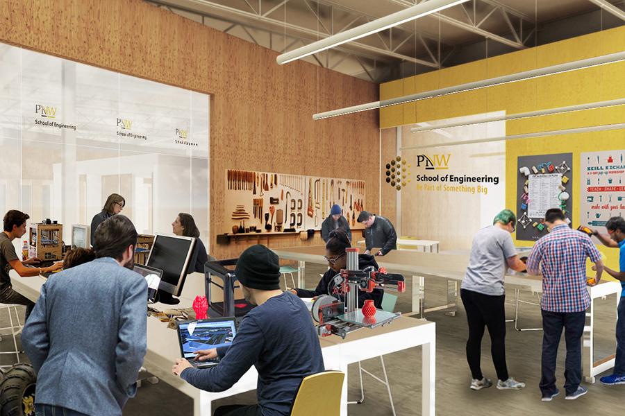 A rendering of PNW's Student Engineering Design Studio