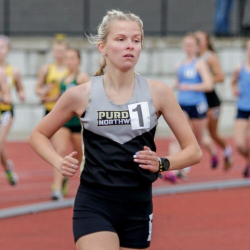 PNW runner Christina Shaginaw competing at the GLIAC Outdoor Championships