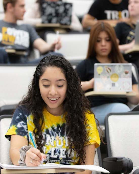 Students studying in class together are pictured.