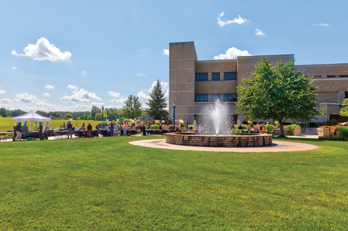 An outdoor view of a fountain on PNW's Westville campus
