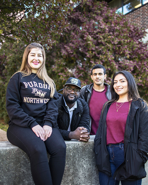 PNW students pose together outdoors