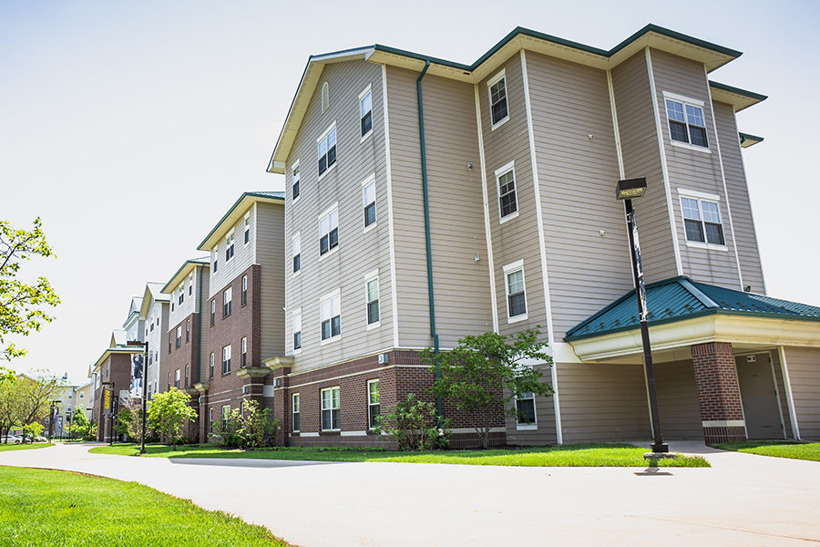 An external look at PNW's dorm.