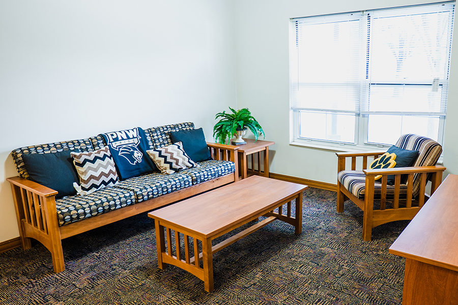 A living room on campus housing
