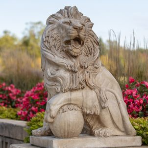 A lion statue on campus