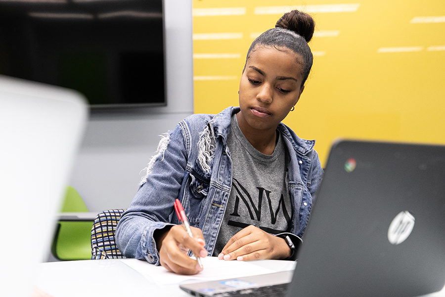 A student works over a computer