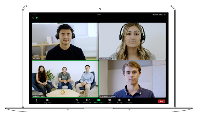 Video conference with 3 individuals and a group of 3