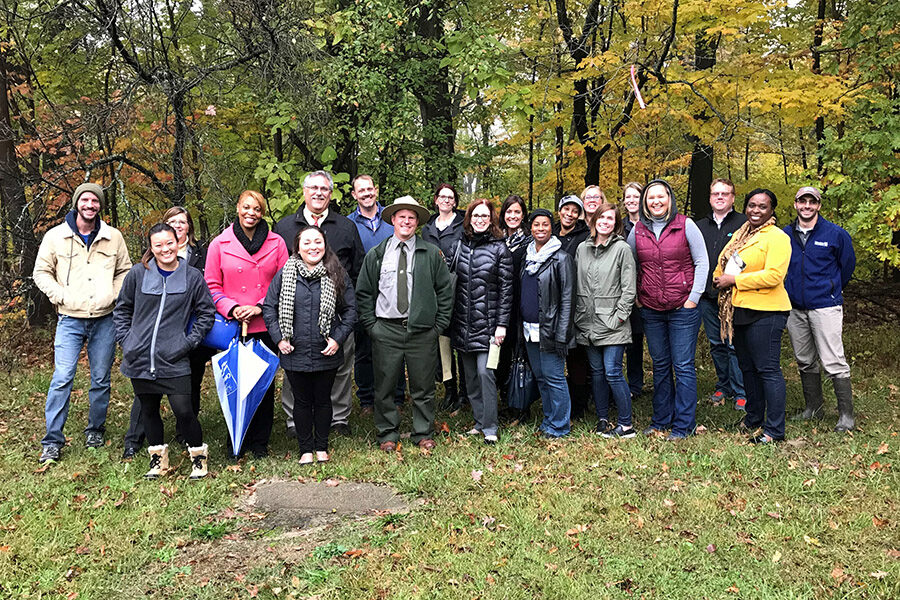 A Leadership Northwest Indiana cohort at PNW's Gabis Arboretum