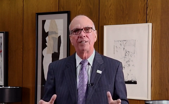"A screengrab from one of Chancellor Thomas Keon's ""Chancellor's Corner"" videos."