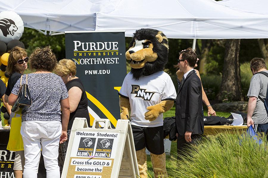 PNW mascot Leo at a campus event.