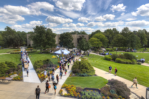 An aerial view of students crossing PNW's Westville campus.