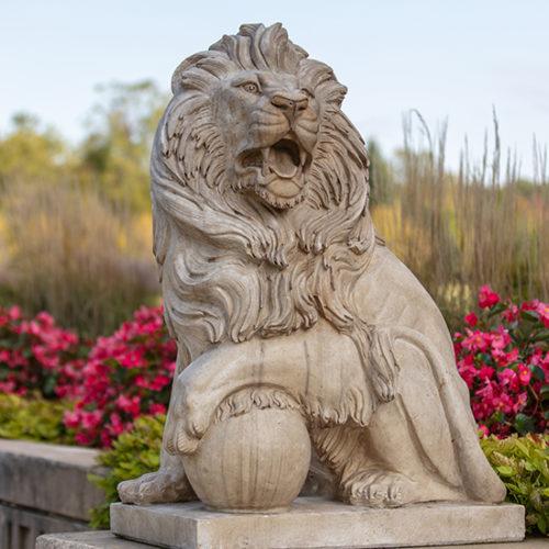 A lion statue on PNW's Westville campus