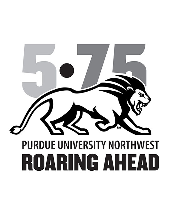 Logo: 5•75 Purdue University Roaring Ahead with an illustration of a striding lion.