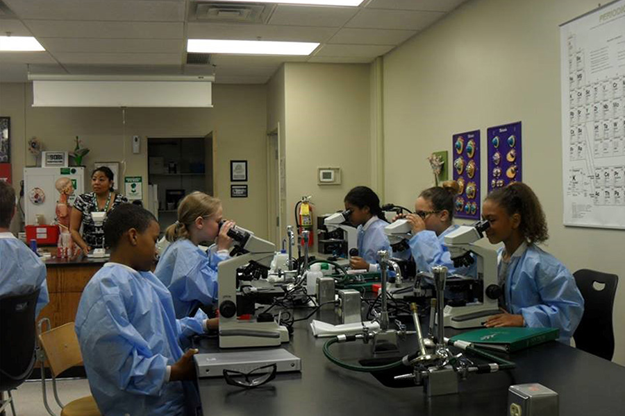 Nursing students learn in the lab