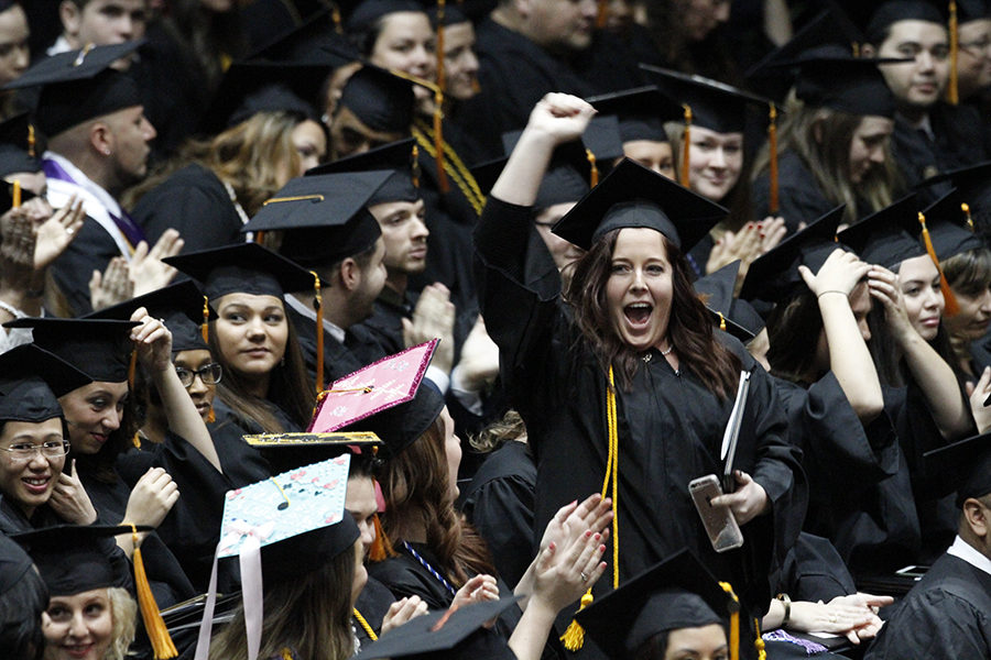 PNW Students Celebrate commencement.